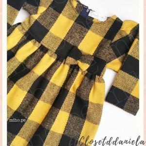 Vestido a cuadros - Negro con amarillo - Ropa para bebés