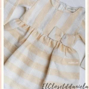 Vestido a rayas - crema con blanco - Ropa para bebés