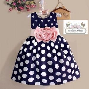 Vestido Lunita - Azul con Puntos Blancos y Lazo Rosa - Ropa para bebés
