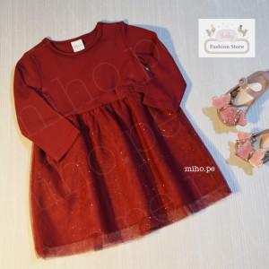 Vestido Rojo Vino con Brillo - Ropa para bebés de 6 a 9 meses