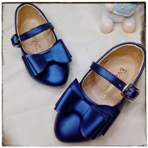 Balerinas Tornazoladas con moño color Azulino