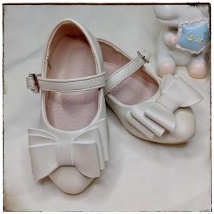 Balerinas Tornazoladas con moño color Crema