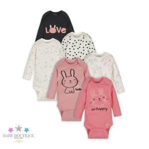 Bodies Pack de 6 unidades - Colores Variados Conejos - Ropa de bebe niña