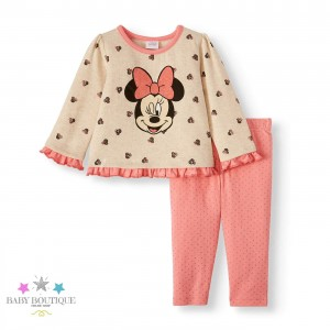 Conjunto Minnie - Polera y Pantalón Color Melón - Ropa de bebé niña