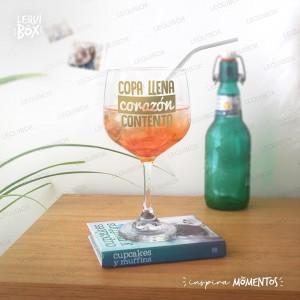 Copa Gin Vidrio -Copa llena corazón contento- con nombre