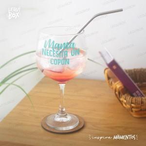 Copa Gin Vidrio -Mamá necesita un copón- Personalizada con nombre
