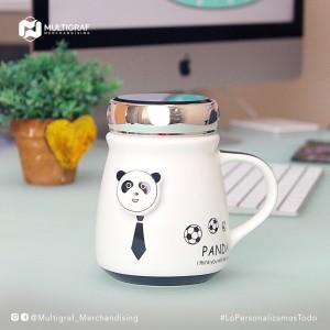 Taza Oso Panda - Tapa con espejo - Personalizada con tu nombre